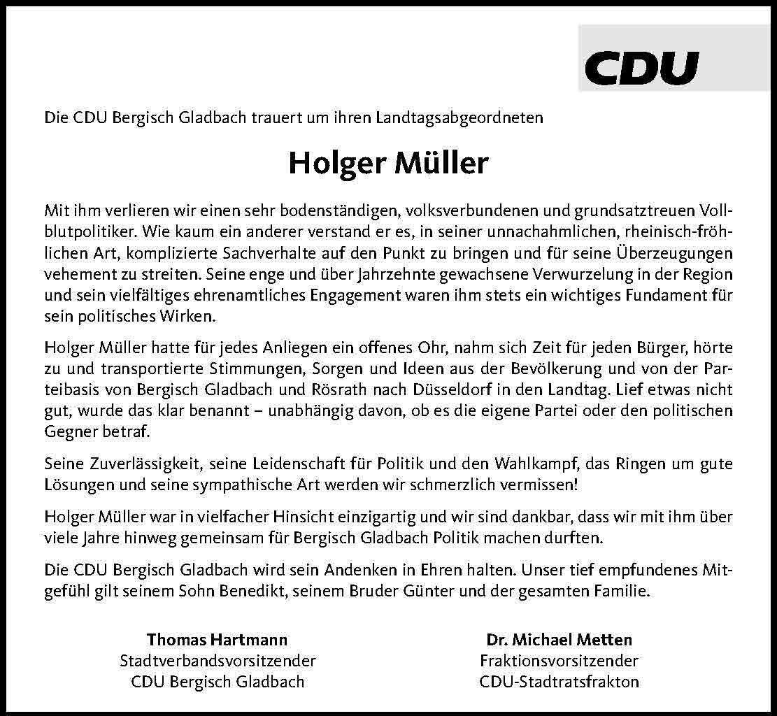 Traueranzeige Holger Müller