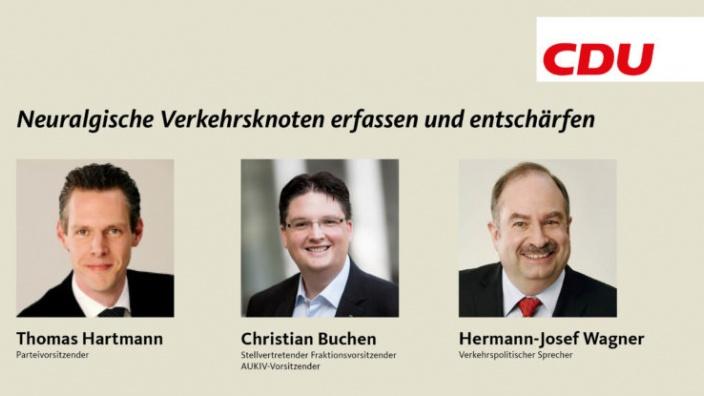 CDU-Fraktion und Stadtpartei: Neuralgische Verkehrsknoten erfassen und entschärfen